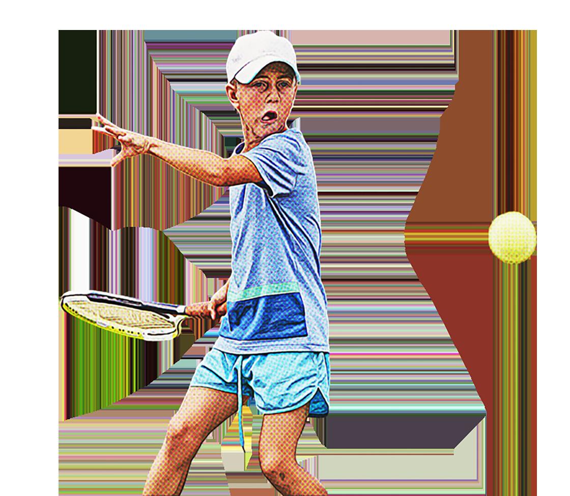 Niño que juega al tenis